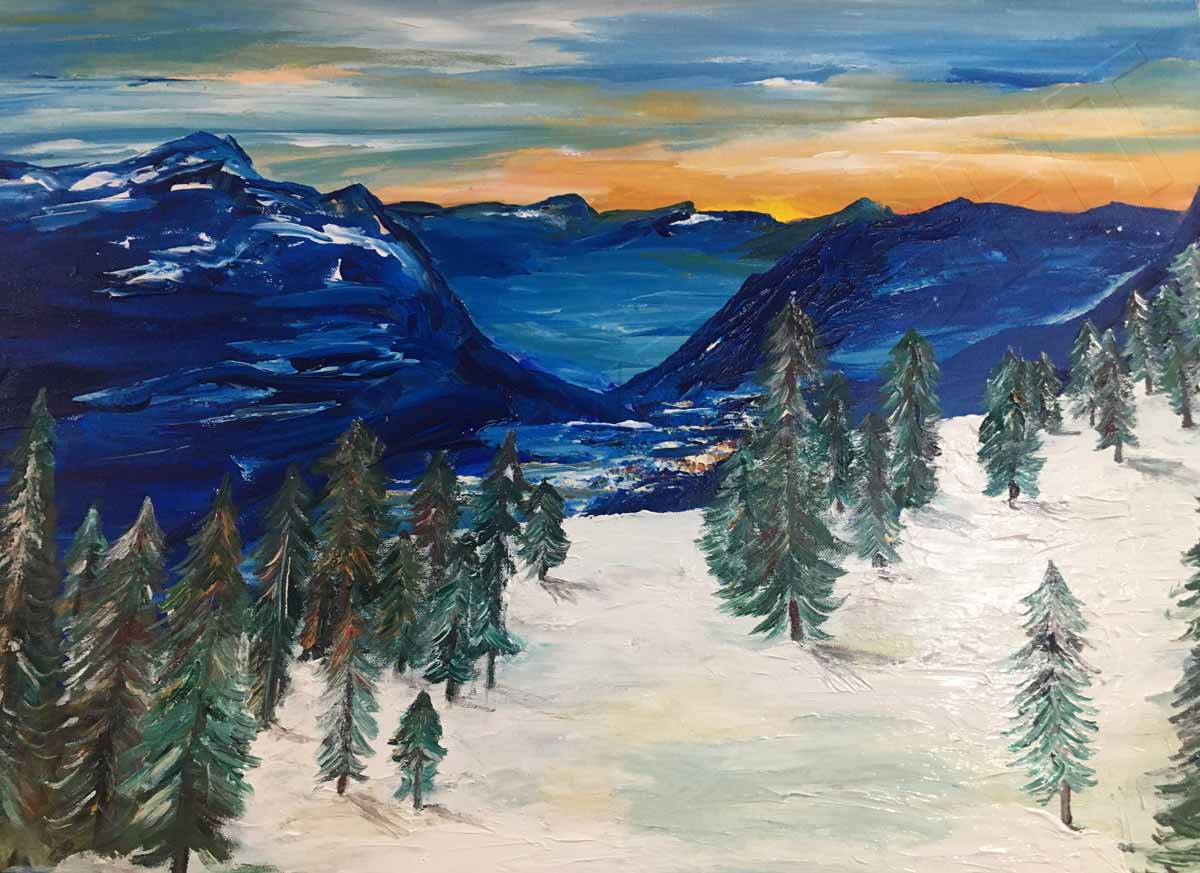 Landscape Painting Snowy Mountains