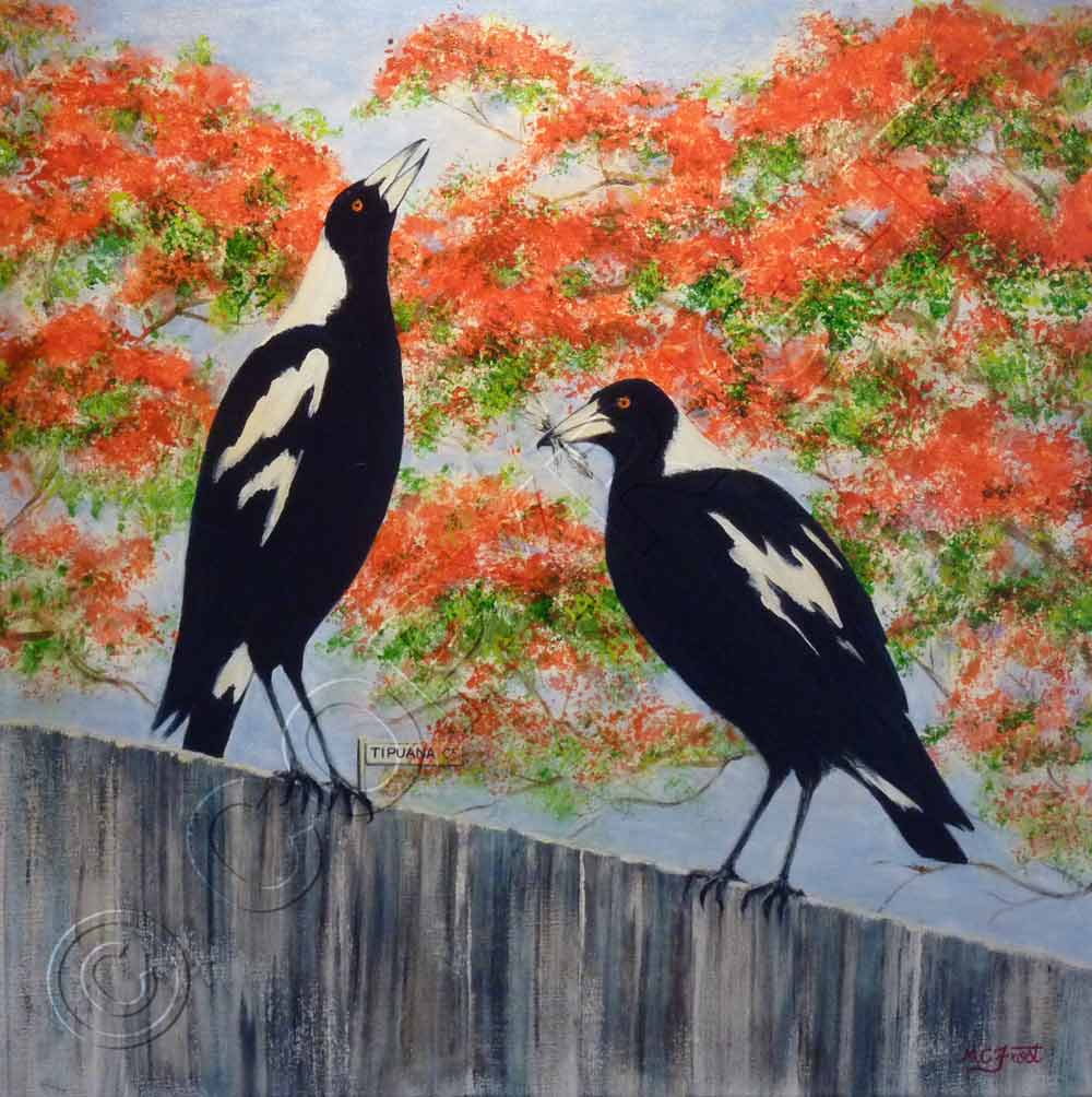 Painting of Magpies